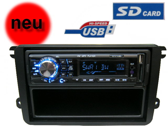 vw seat skoda autoradio usb mp3 adapter blende einbau set golf 5 6 polo caddy ebay. Black Bedroom Furniture Sets. Home Design Ideas