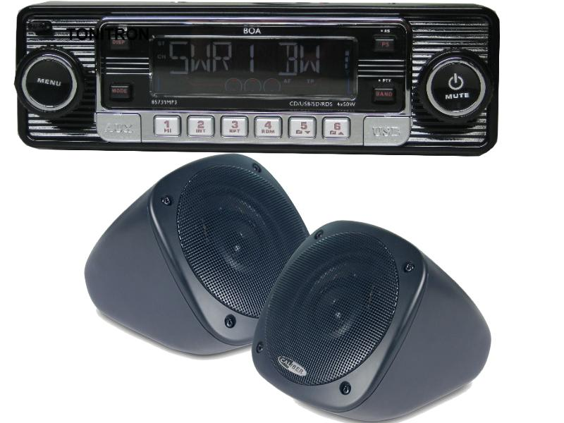 USB CD MP3 Oldtimer Autoradio Aufbau Lautsprecher Set