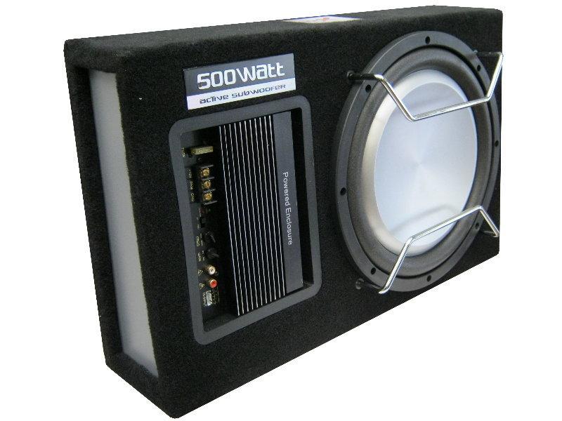 aktiv subwoofer flach kompakt inkl kabelset car 25 cm. Black Bedroom Furniture Sets. Home Design Ideas